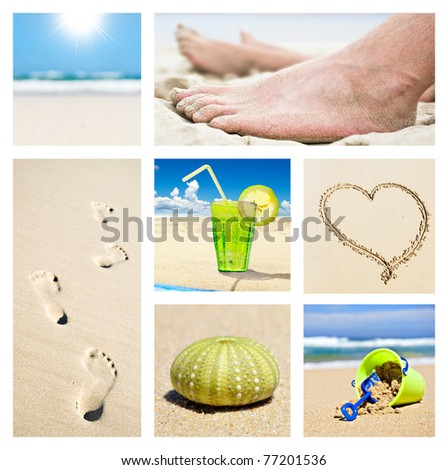 Collage of different summer beach holiday scenes - stock photo