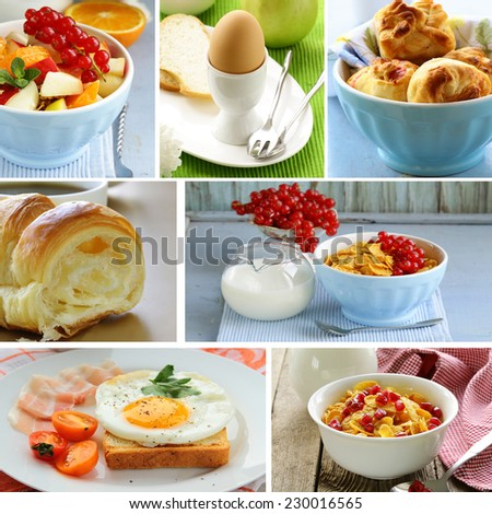collage of different types of breakfast menu (croissants, scrambled eggs, muesli with milk) - stock photo