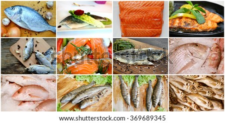 Collage of different types of cooked and raw fresh fish - stock photo