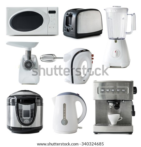 collage of different types of kitchen appliances isolated on white background - stock photo