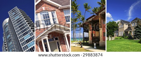 Collage of different types of real estate - stock photo