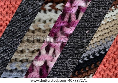 collage of different wools, diagonal stripes - stock photo