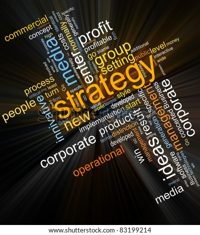 collage of different words on a dark background on business topics - stock photo