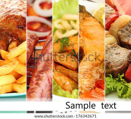 Collage of dishes for restaurant menu - stock photo
