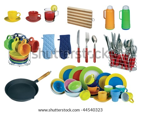 Collage of dishware, utensil. Isolated on white - stock photo
