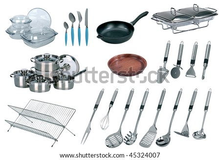 Collage of dishware, utensil, pans. Isolated on white - stock photo