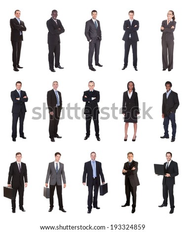 Collage of diverse businesspeople standing over white background - stock photo