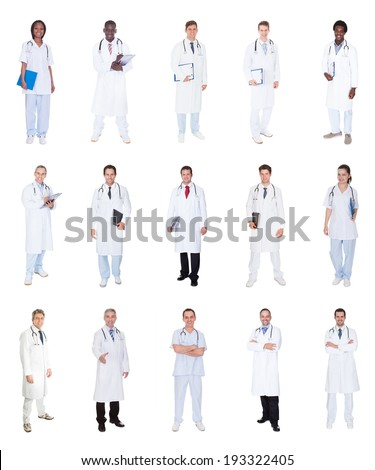 Collage of diverse doctors standing over white background - stock photo