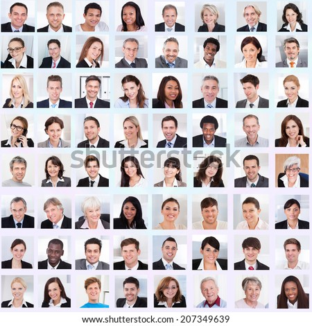 Collage of diverse multiethnic business people smiling - stock photo