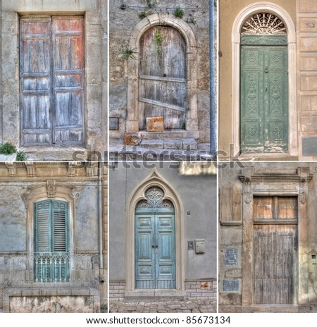 Collage of doors in Scicli. Sicily - stock photo