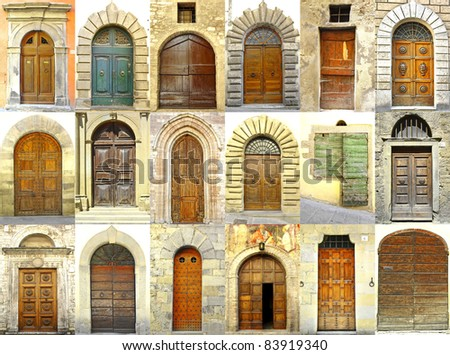Collage of doors, Italy - stock photo
