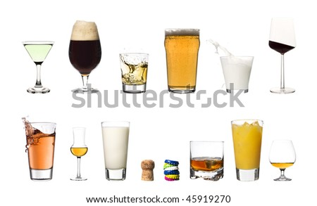 Collage of drinks isolated on white background - stock photo