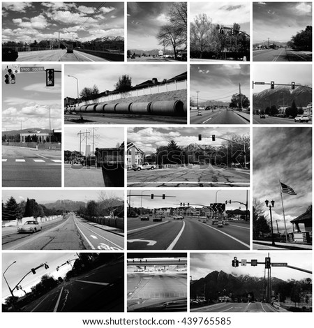 Collage of Drive by Photo Shooting in the Suburbs - stock photo