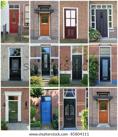 Collage of Dutch front doors. - stock photo
