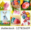 Collage of Easter eggs and symbols in different compositions - stock photo