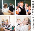Collage of education cheerful children in classroom - stock photo