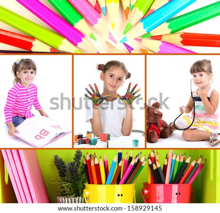 Collage of education children - stock photo