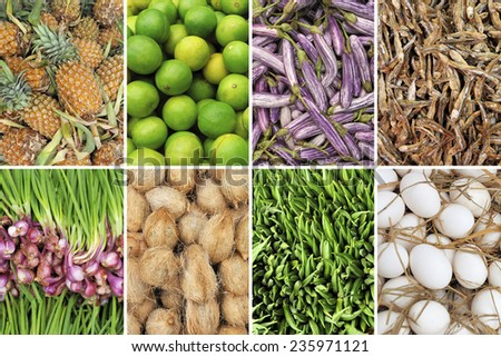 Collage of eight items (background food) - stock photo