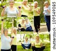 Collage of elderly women doing exercises outdoors - stock