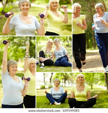 Collage of elderly women doing exercises outdoors - stock photo