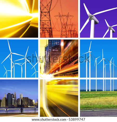 collage of electric power and innovative energy industry - stock photo