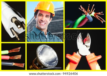 Collage of electrical instruments tools. Electricity and lighting background. - stock photo