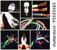 Collage of electrical instruments tools. Tools of electrician. - stock photo
