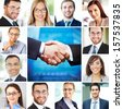 Collage of elegant businessmen and businesswomen looking at camera with smiles and handshake - stock photo