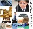 Collage of elementary age kids in suits and financial themed images. - stock photo