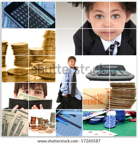 Collage of elementary age kids in suits and financial themed images.