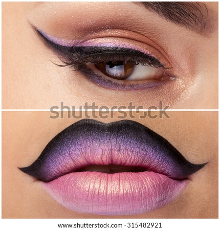 Collage of eye and lips with pink make up. Close up shooting. Macro - stock photo