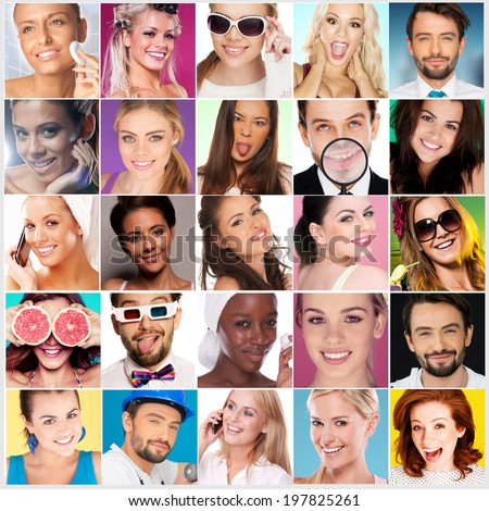 Collage of Faces of Different men and women smiling. - stock photo