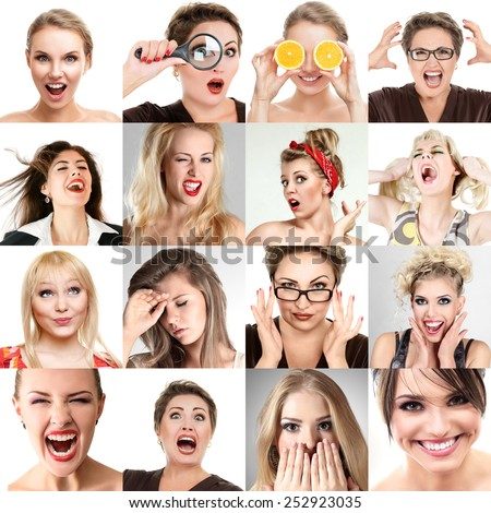 Collage of faces with different emotions. Collection of beautiful woman portraits - stock photo