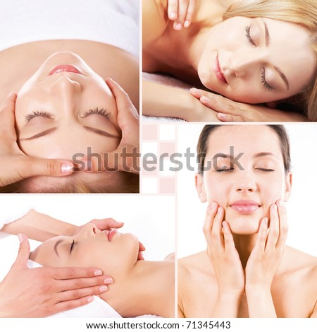 Collage of facial and body massage