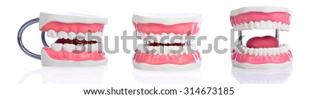 Collage of Fake teeth on white background. Dental concept  - stock photo