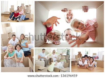 Collage of families at home unpacking cardboard - stock photo
