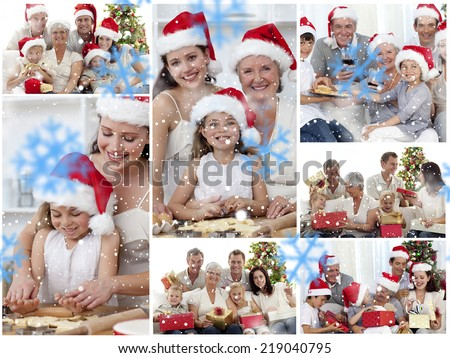 Collage of families enjoying celebration moments together at home against snowflakes - stock photo