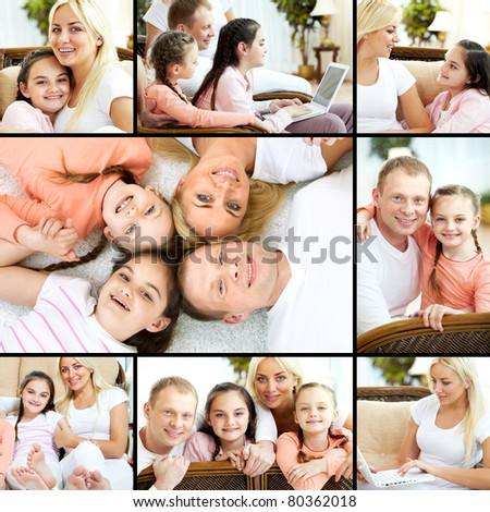 Collage of family having rest at home - stock photo