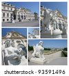 Collage of famous Belvedere castle in Vienna, Austria. Belvedere is large collection gallery of famous artists (Gustav Klimt for example) - stock photo