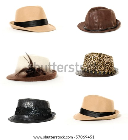 Collage of Fashion lady hat - stock photo