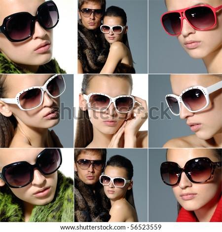 Collage of fashion model wearing modern sunglasses - stock photo