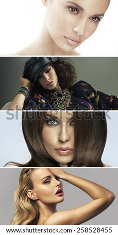 Collage of fashion portraits - stock photo