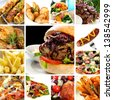 Collage of fast food items, including burgers, wraps, chicken, kebabs, fries and hot dog. - stock photo