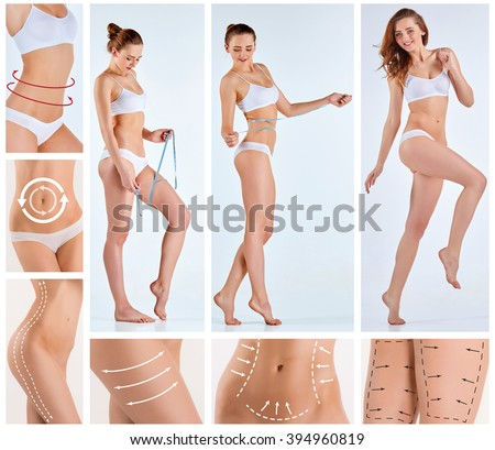 Collage of female body with the drawing arrows - stock photo