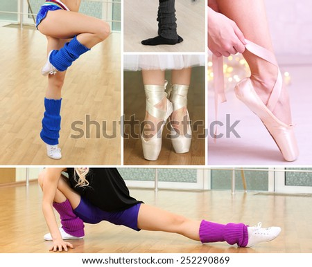 Collage of female feet practicing dance - stock photo