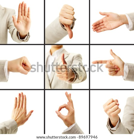 Collage of female hand showing different gestures - stock photo