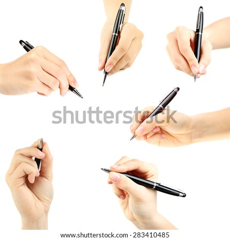 Collage of female hands with pens, isolated on white - stock photo