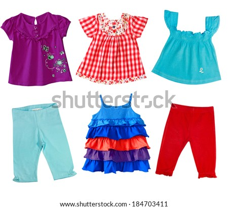 Collage of female kid clothing.Girl clothes isolated on white. - stock photo