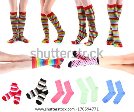 Collage of female legs in colorful socks and socks - stock photo