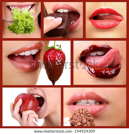 Collage of female mouth desire eating - stock photo